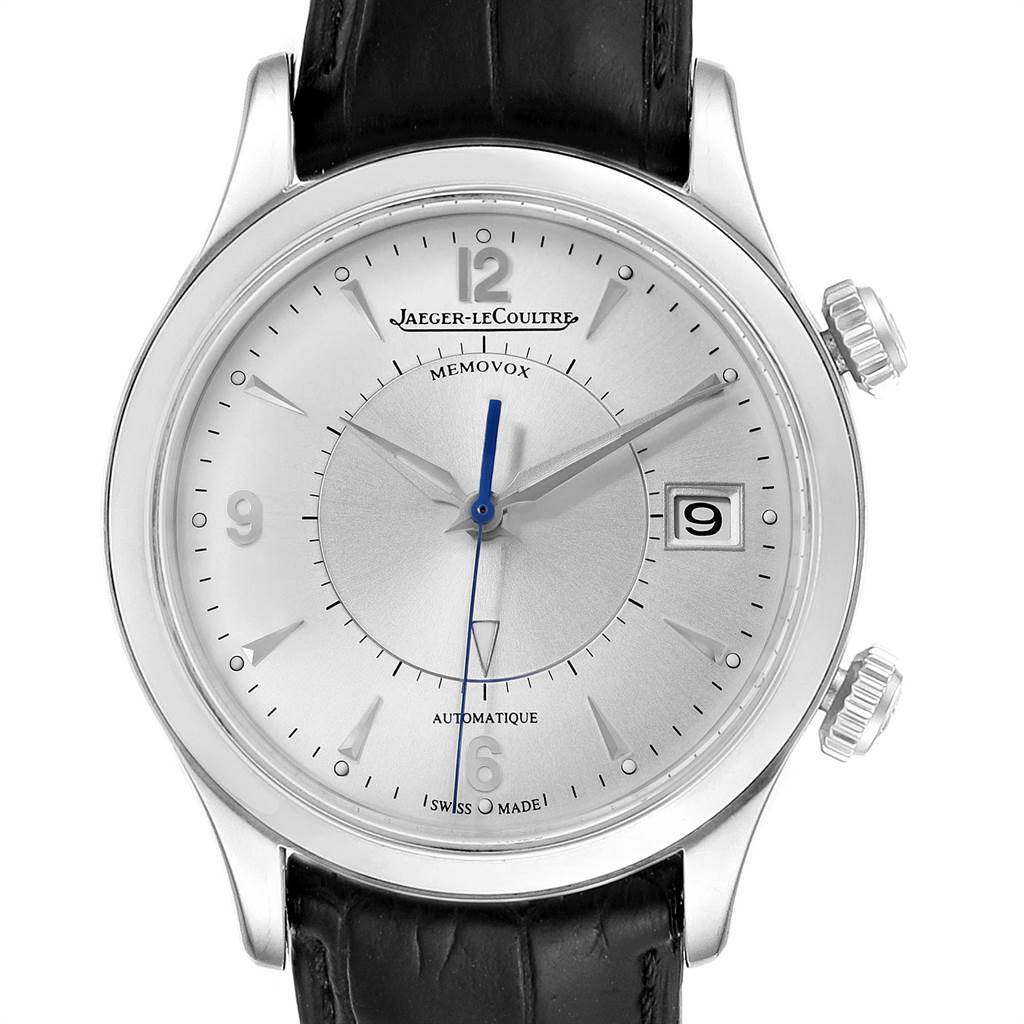Jaeger Lecoultre Master Memovox Silver Dial Mens Watch 174.8.96 Q1418430 Box Papers