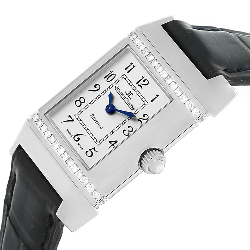 13159 Jaeger LeCoultre Reverso Florale Ladies Steel Diamond Watch 265.8.08 SwissWatchExpo