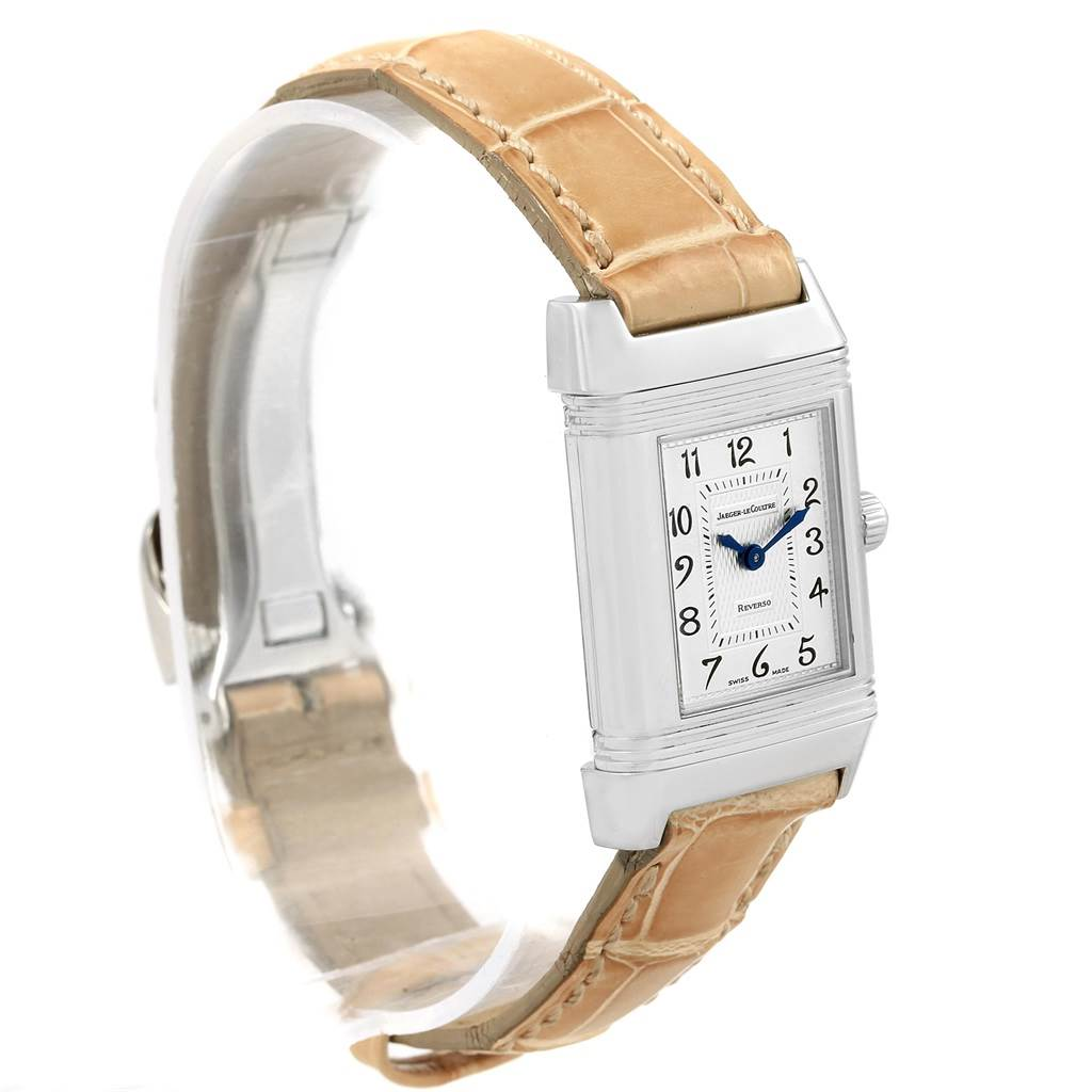 17782 Jaeger LeCoultre Reverso Duetto Ladies Steel Diamond Watch 266.8.44 SwissWatchExpo