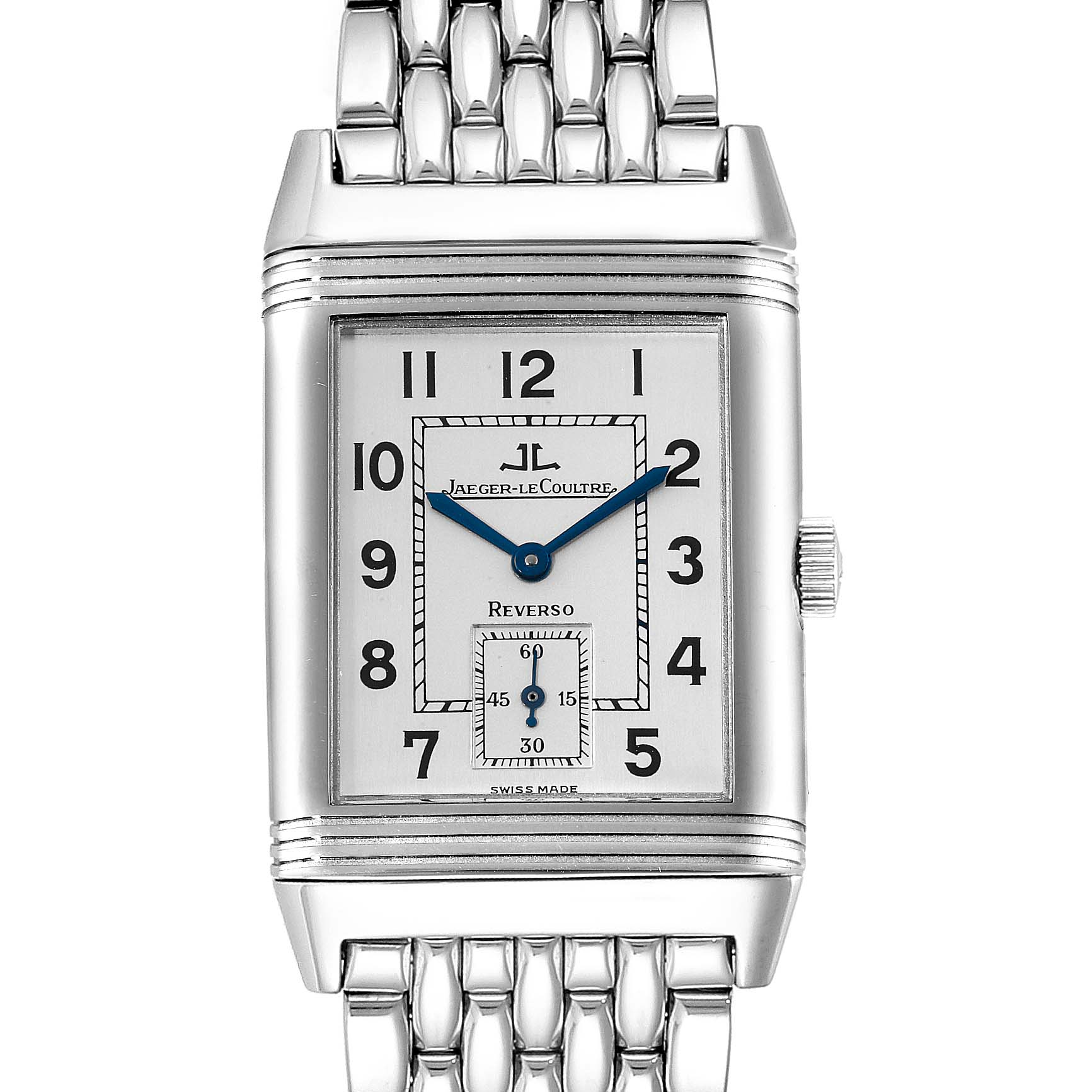 Jaeger LeCoultre Reverso Grande Taille Steel Watch 270.8.62 Box Papers