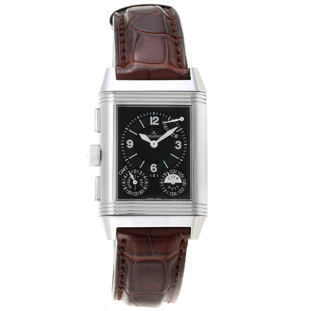Jaeger LeCoultre Reverso Grande GMT Steel Mens Watch 240.8.18 Q3028420 SwissWatchExpo