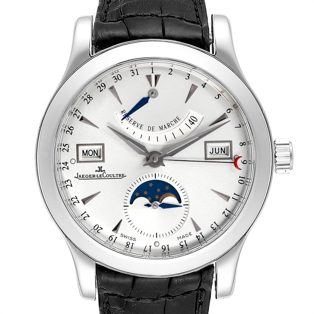 24717 Jaeger Lecoultre Master Calendar Moonphase Steel Mens Watch 147.8.41.S SwissWatchExpo