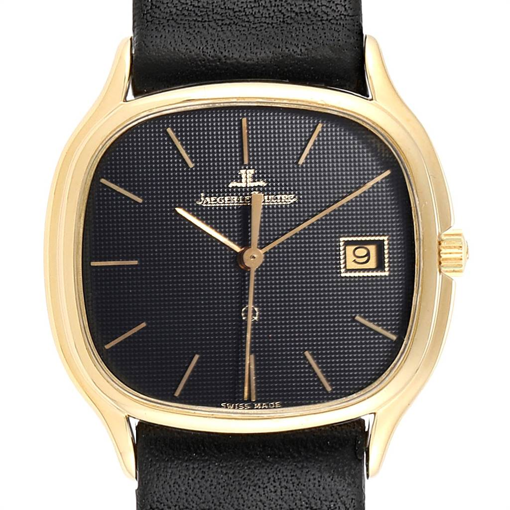 Photo of Jaeger LeCoultre Yellow Gold Black Dial Vintage Mens Watch 140.076.1