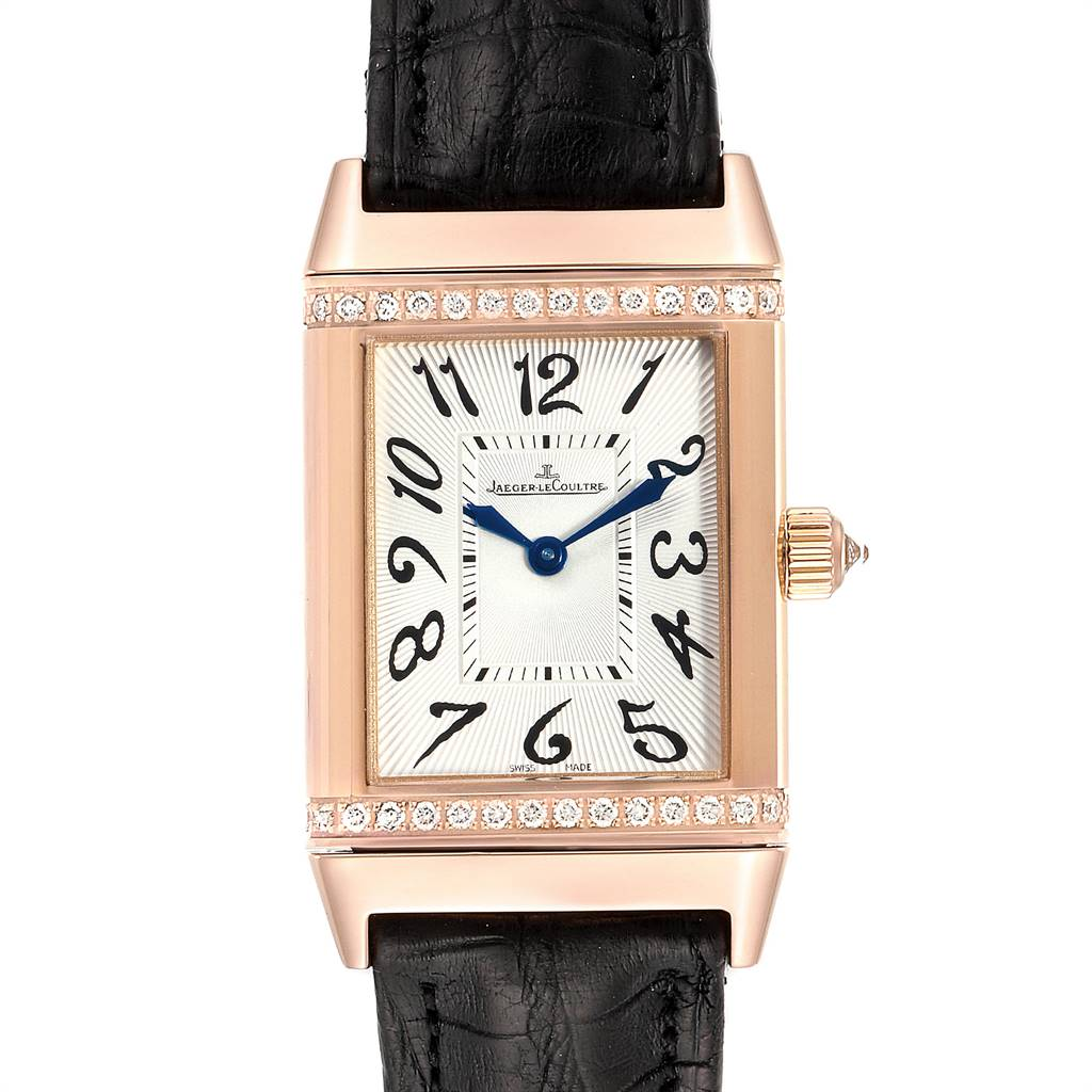 Jaeger LeCoultre Reverso Duetto Classique Rose Gold Diamond Watch 256.2.75 SwissWatchExpo