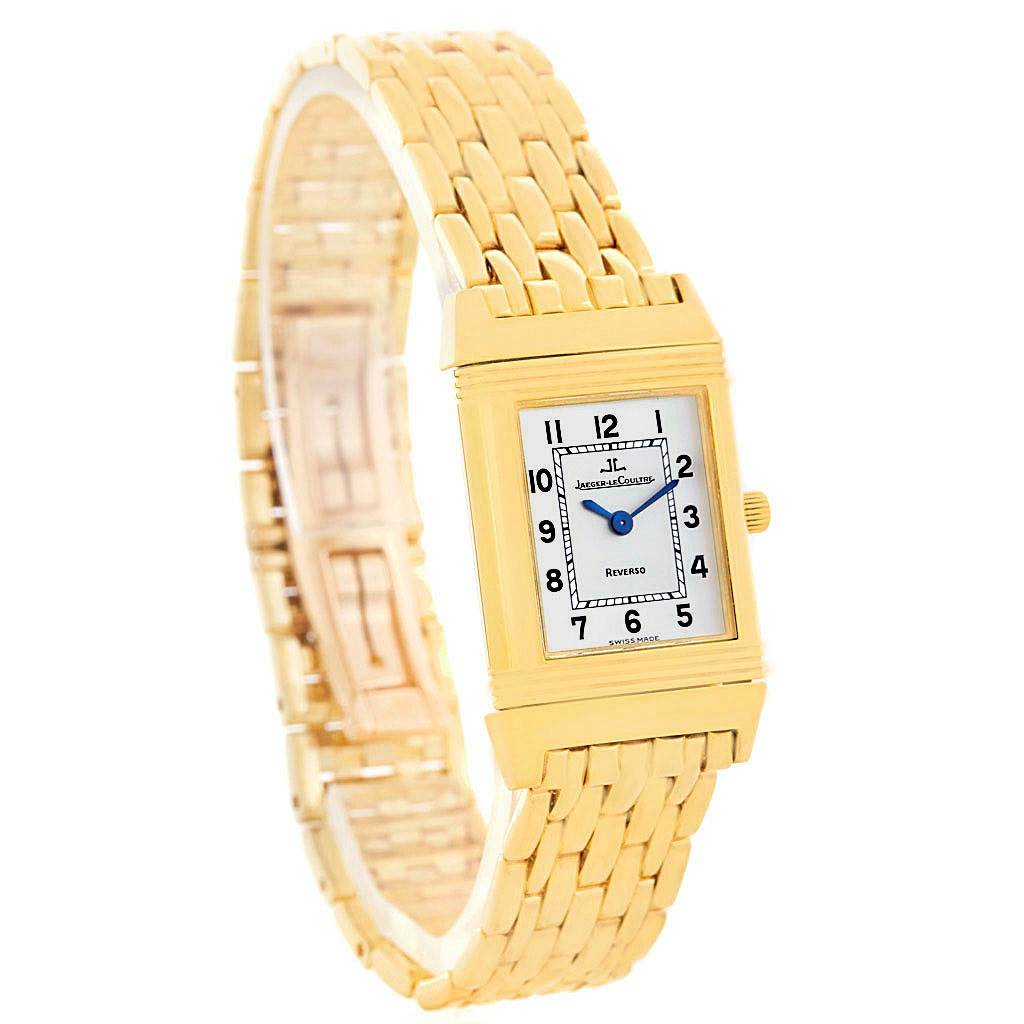 5532A Jaeger LeCoultre Reverso Silver Dial Yellow Gold Ladies Watch Q2611110 SwissWatchExpo