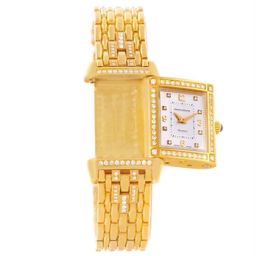 9447 Jaeger LeCoultre Reverso 18K Yellow Gold Diamond Ladies Watch 267.1.86 SwissWatchExpo