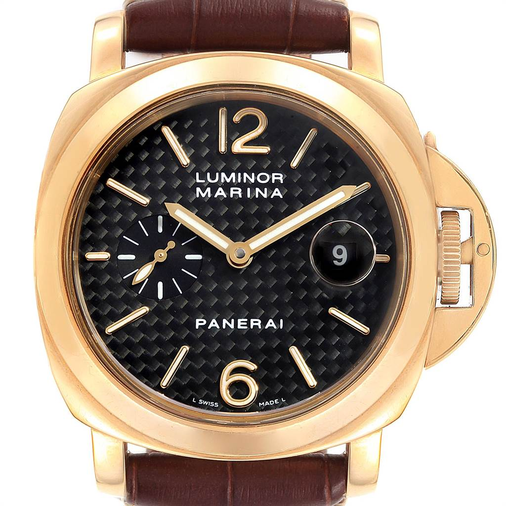 11666A Panerai Luminor Marina 44 Yellow Gold Watch PAM00140 Box Papers SwissWatchExpo