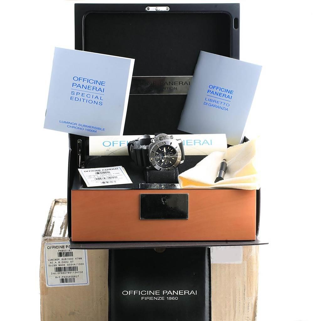 17610 Panerai Luminor Submersible Chrono 1000M 47mm Watch PAM187 Box Papers SwissWatchExpo