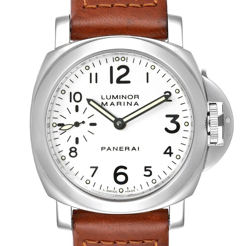 Panerai Luminor Marina 44mm White Dial Watch PAM00003 Box Papers SwissWatchExpo