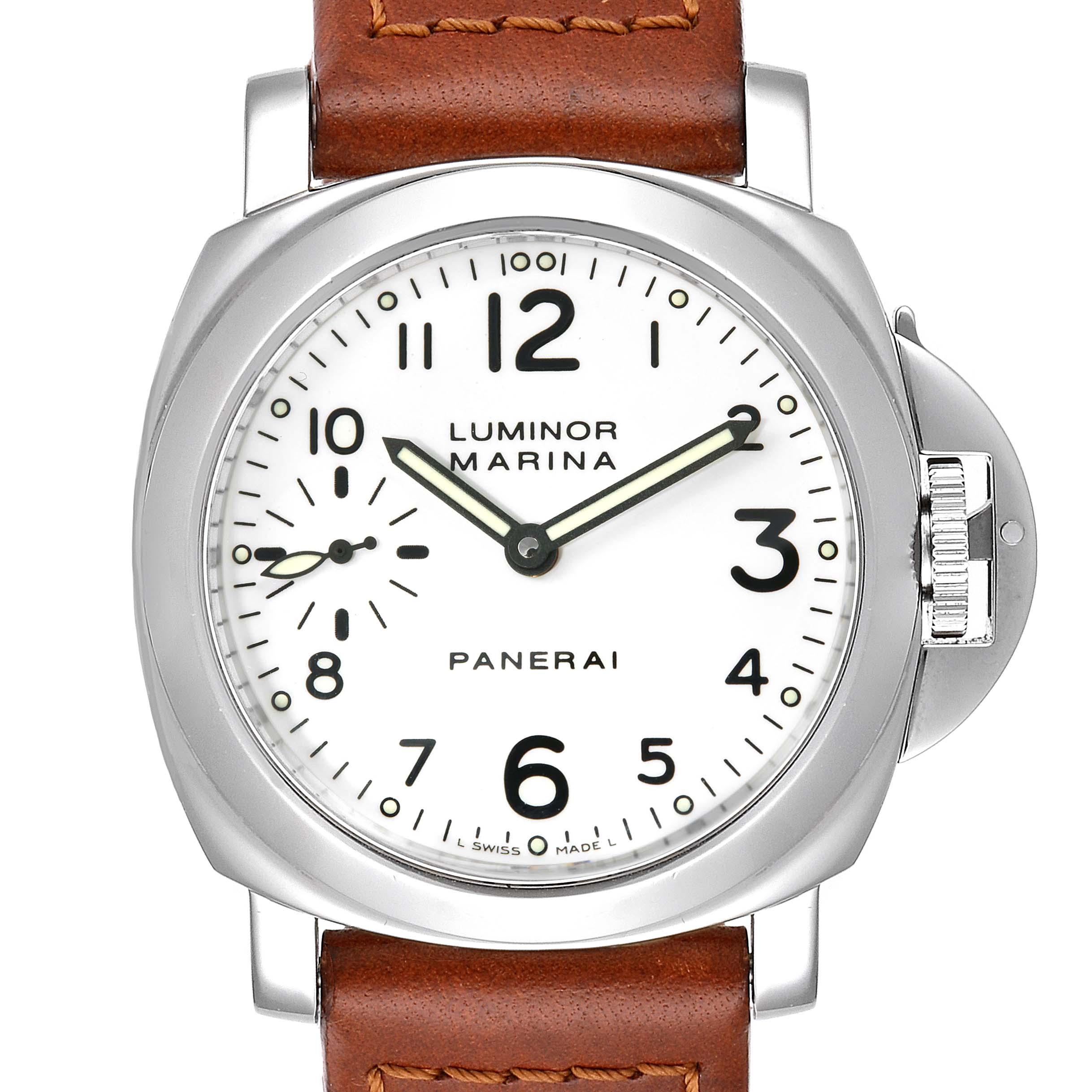 Photo of Panerai Luminor Marina 44mm White Dial Watch PAM00003 Box Papers