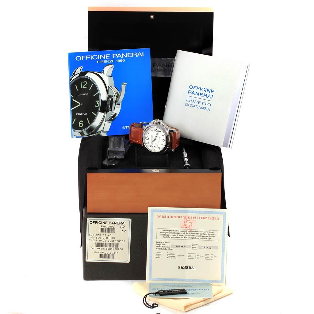 18479 Panerai Luminor Marina 44mm White Dial Watch PAM00003 Box Papers SwissWatchExpo