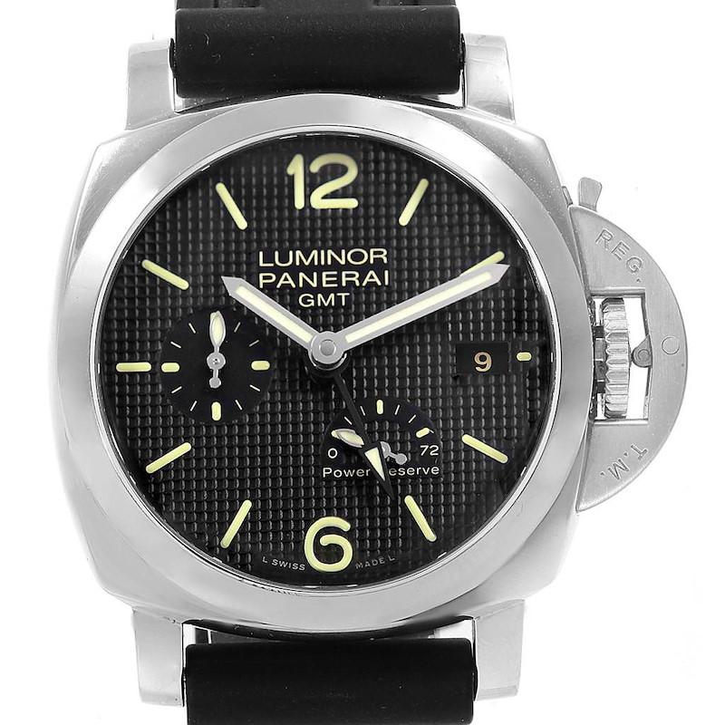 Panerai Luminor 1950 Power Reserve 3 Day GMT Watch PAM00537 Box Papers SwissWatchExpo