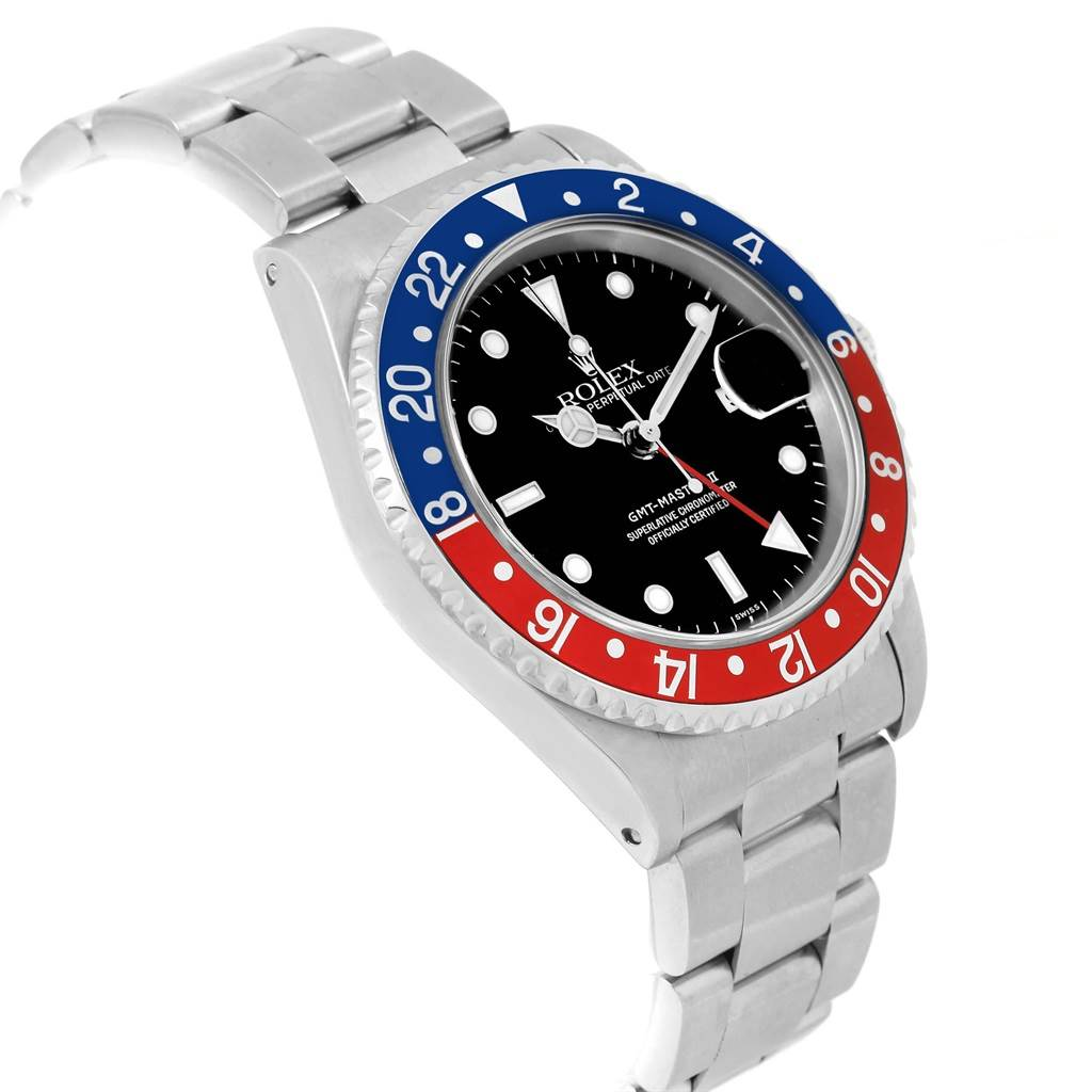 Rolex GMT Master II Pepsi Bezel Mens Watch 16710 Box Papers SwissWatchExpo
