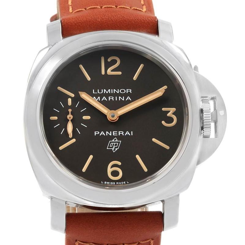 Panerai Luminor Acciaio Logo Tropical Brown Dial 44mm Watch PAM00632 SwissWatchExpo