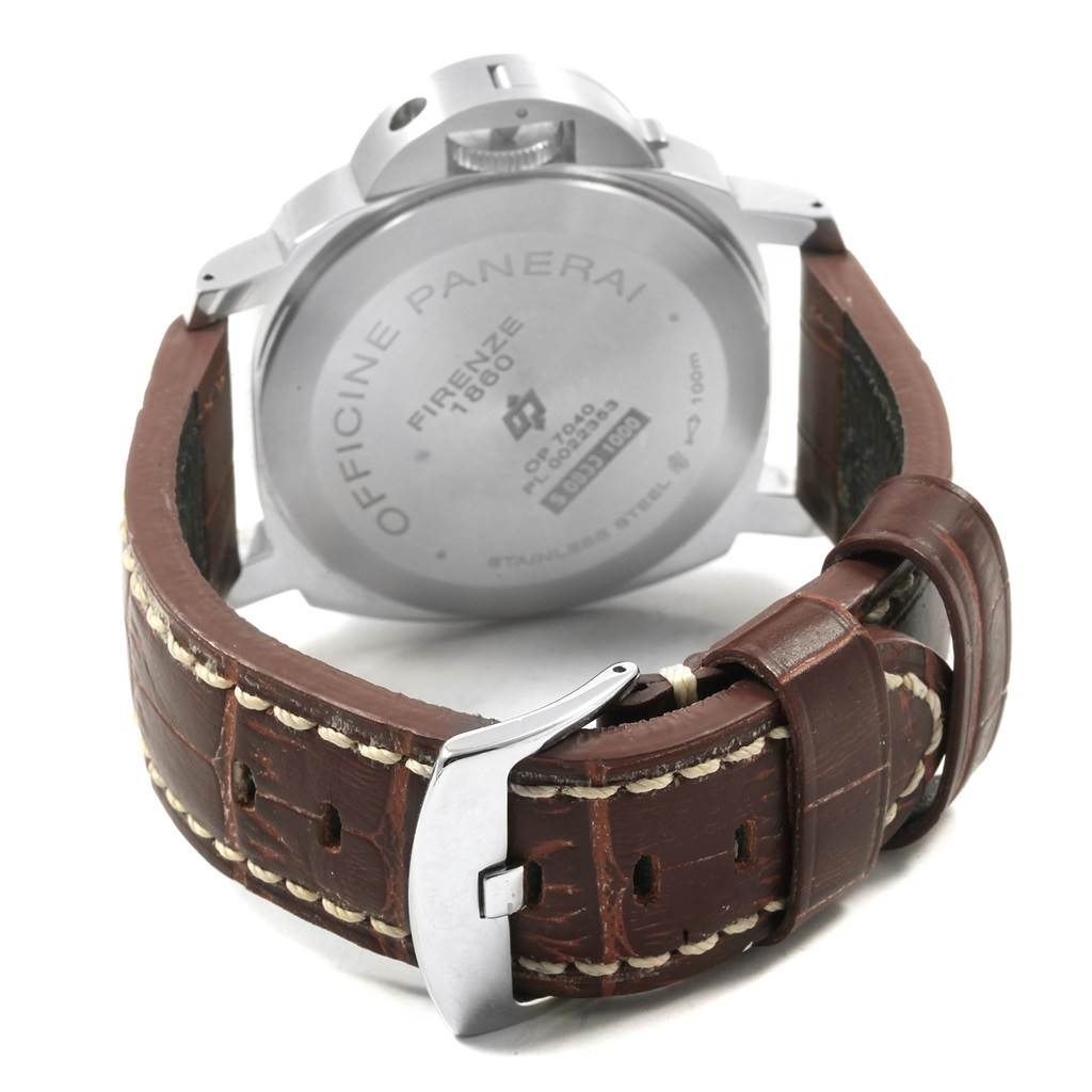 20144 Panerai Luminor Acciaio Logo Tropical Brown Dial 44mm Watch PAM00632 SwissWatchExpo