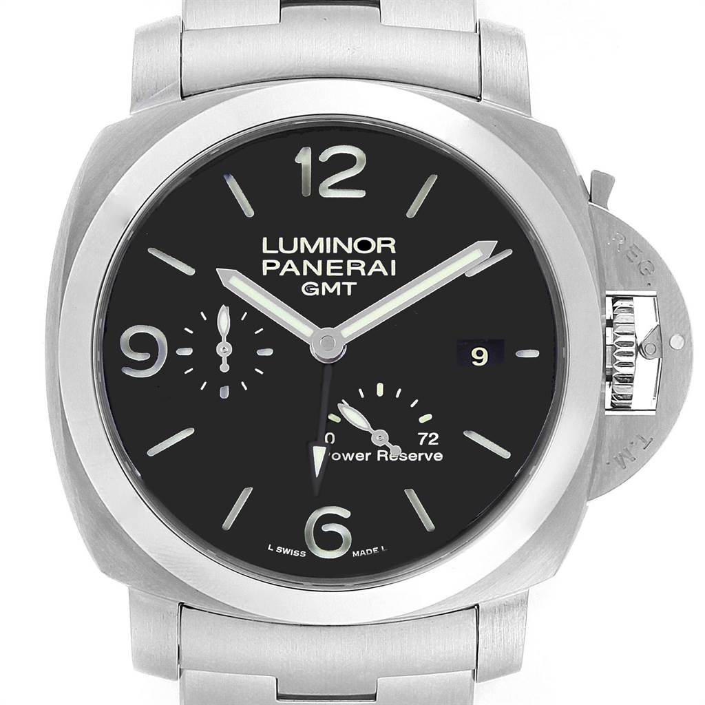22507 Panerai Luminor 1950 3 Days GMT 44mm Watch PAM00347 Box Papers SwissWatchExpo