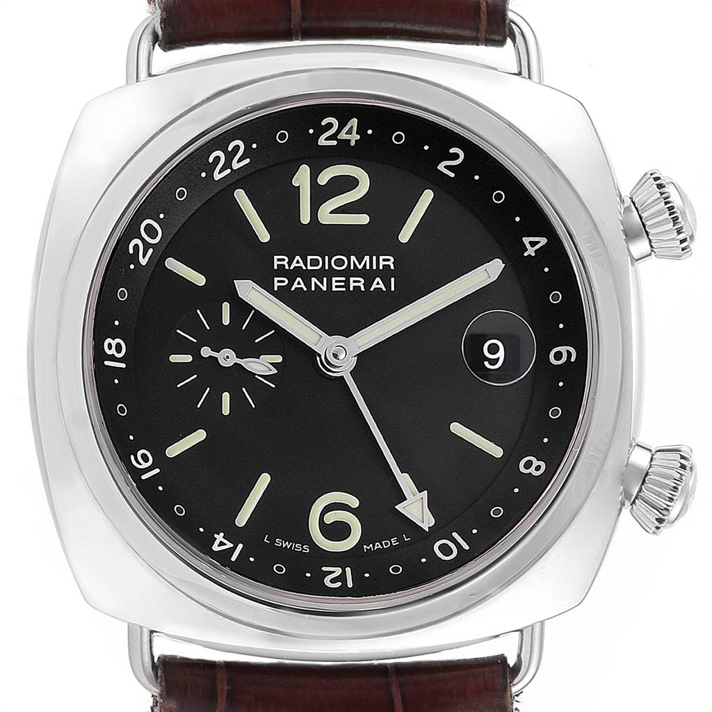 22575 Panerai Radiomir GMT Dual Time 42 Steel Mens Watch PAM00184 Box Papers SwissWatchExpo