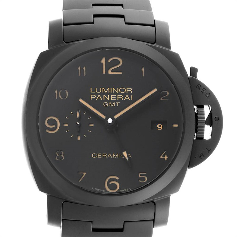 Panerai Luminor 1950 3 Days Tuttonero GMT Ceramic Mens Watch PAM00438 SwissWatchExpo