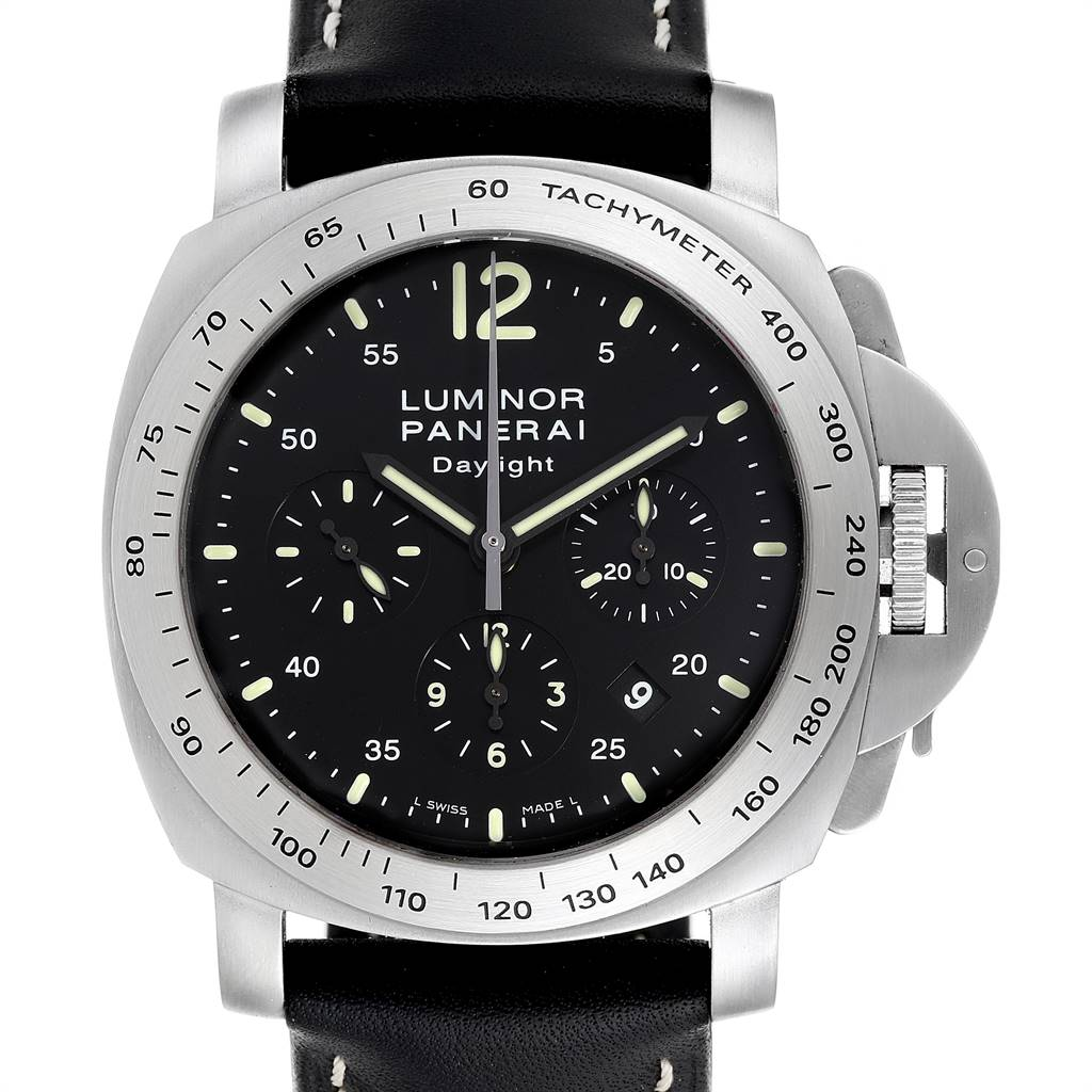 Panerai Luminor Chronograph Daylight Steel Mens Watch PAM00250