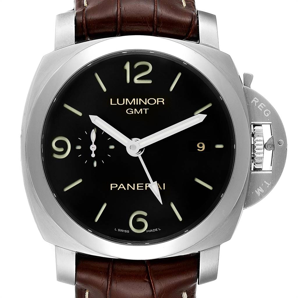 Panerai Luminor 1950 3 Days GMT 44mm Watch PAM00320 PAM320 Box Papers