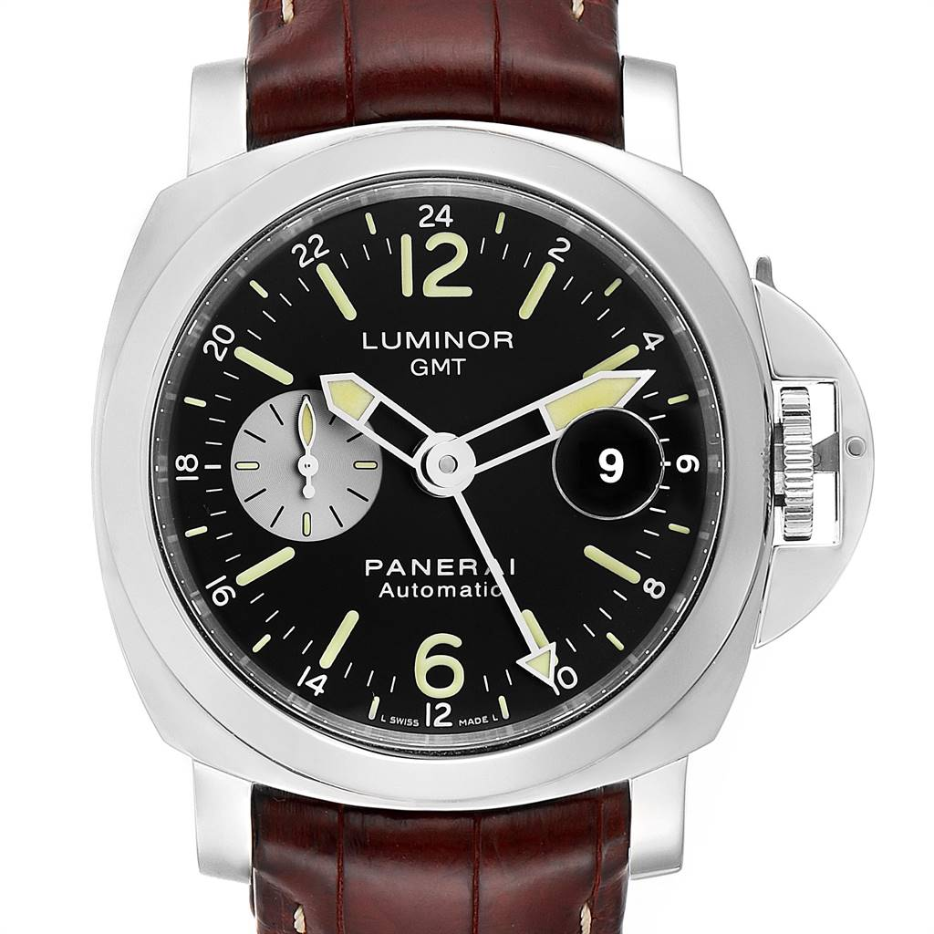 Panerai Luminor GMT Brown Strap Automatic Mens Watch PAM00088