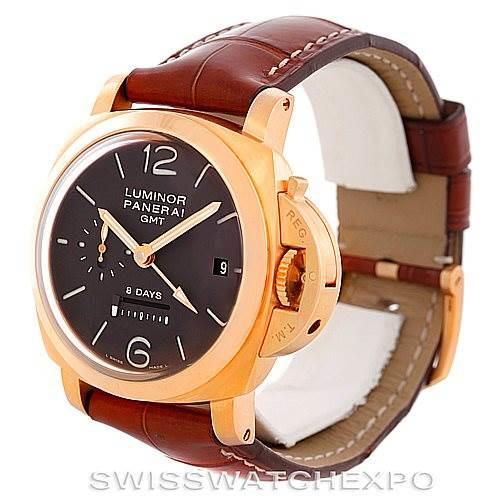 Panerai Luminor GMT 18K Rose Gold Mens Watch PAM00289 PAM 289 SwissWatchExpo