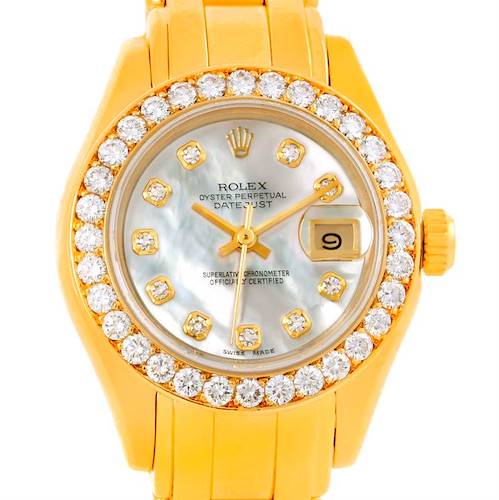 Photo of Rolex Pearlmaster 18k Yellow Gold MOP Diamond Ladies Watch 69298
