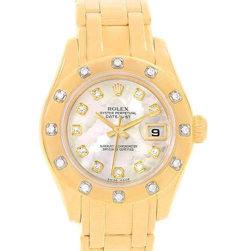 Photo of Rolex Pearlmaster Yellow Gold MOP Diamond Watch 80318 Box Papers