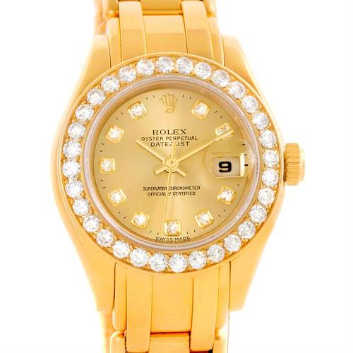 Photo of Rolex Pearlmaster Yellow Gold Diamond Dial Bezel Ladies Watch 69298