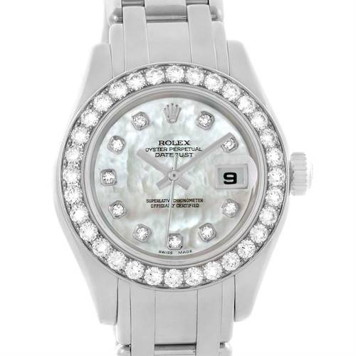 Photo of Rolex Pearlmaster Masterpiece 18K White Gold Diamond Watch 80299