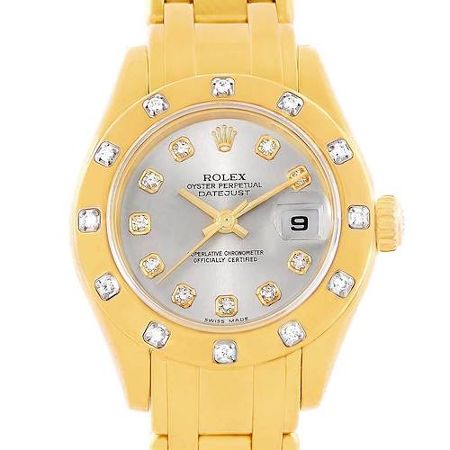 Photo of Rolex Pearlmaster Yellow Gold Diamond Dial Bezel Ladies Watch 80318