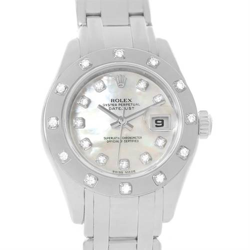 Photo of Rolex Masterpiece Pearlmaster 18k White Gold Diamond Watch 80319