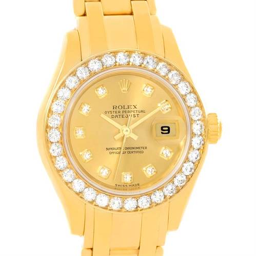 Photo of Rolex Pearlmaster 18K Yellow Gold Diamond Watch 80298 Box Papers