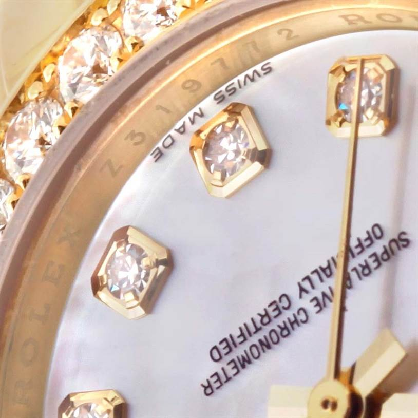 12614P Rolex Pearlmaster Yellow Gold Mother of Pearl Diamond Watch 80298 SwissWatchExpo