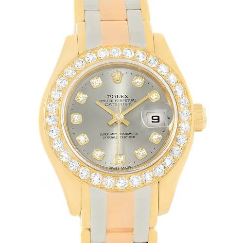 Photo of Rolex Pearlmaster 18K Gold Tridor Diamond Watch 80298 Box Papers