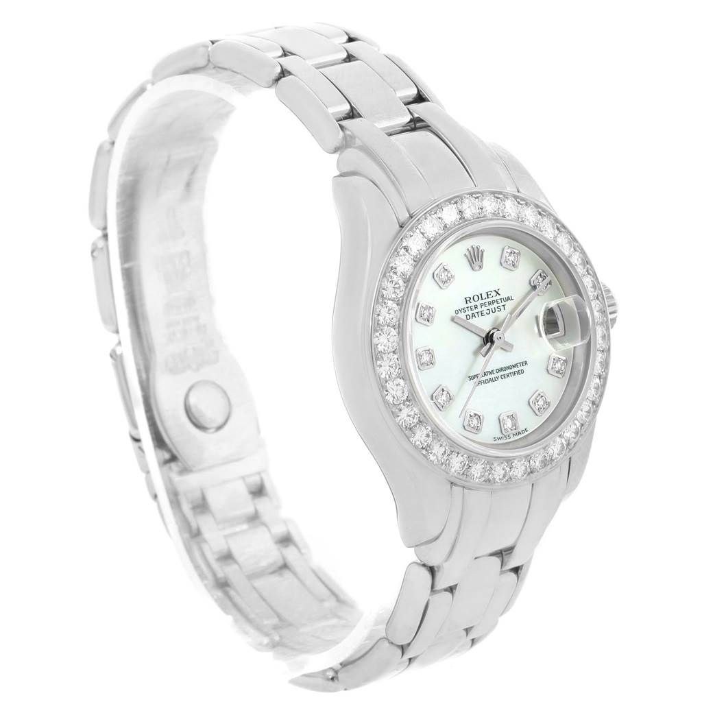 13680 Rolex Pearlmaster 18K White Gold MOP Diamond Dial Bezel Watch 69299 SwissWatchExpo