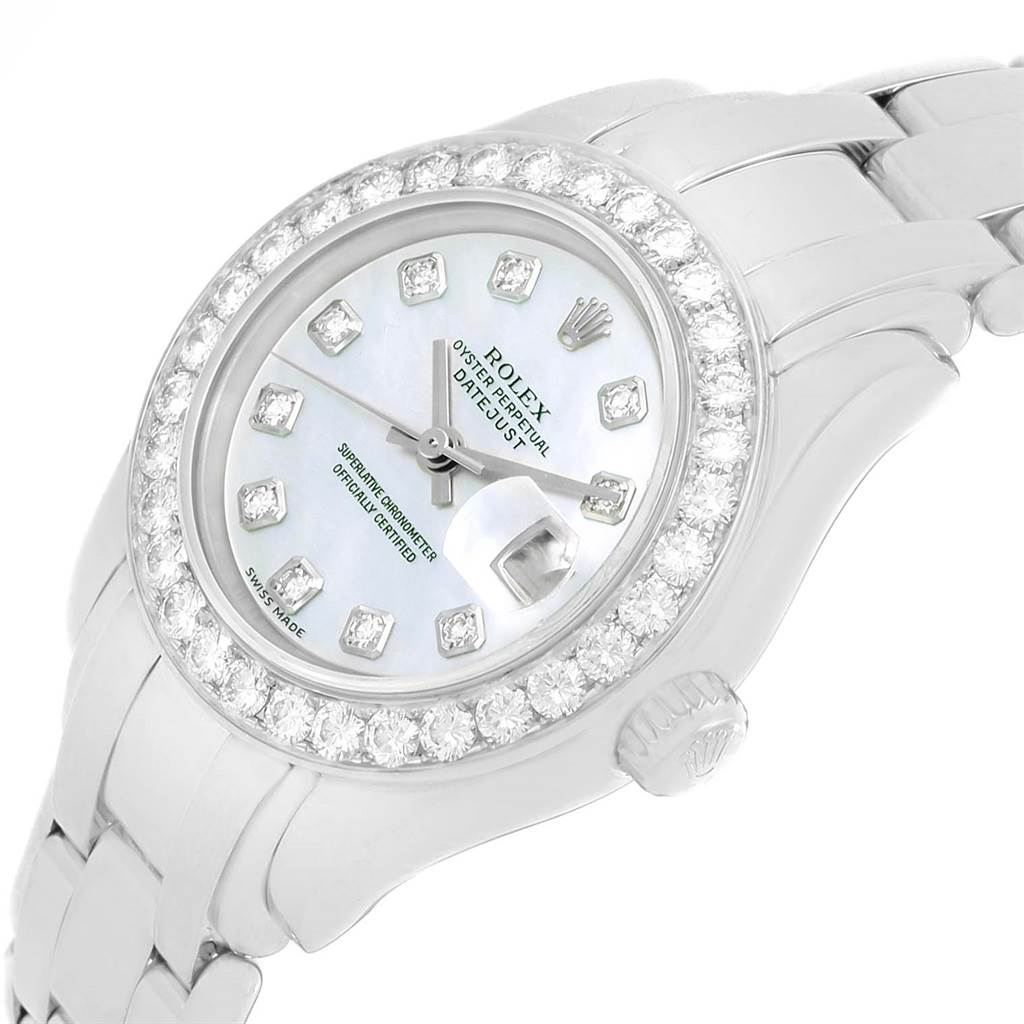 Rolex Pearlmaster 18K White Gold MOP Diamond Dial Bezel Watch 69299 SwissWatchExpo