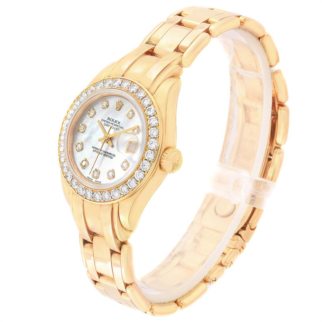 13861 Rolex Pearlmaster Yellow Gold MOP Diamond Dial Bezel Ladies Watch 69298 SwissWatchExpo