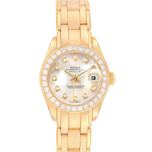 Photo of Rolex Pearlmaster Yellow Gold MOP Diamond Dial Bezel Ladies Watch 69298