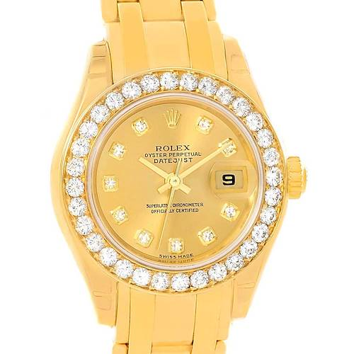 Photo of Rolex Pearlmaster 18K Yellow Gold Diamond Ladies Watch 80298