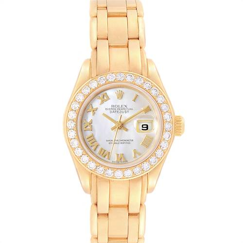 Photo of Rolex Pearlmaster Yellow Gold MOP Diamond Bezel Ladies Watch 69298