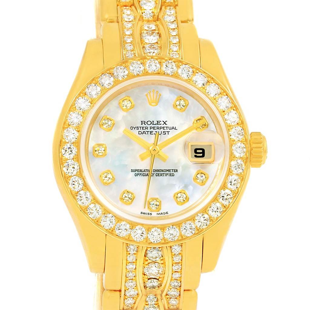 81100ce475ba ... 14766P Rolex Pearlmaster Yellow Gold Triple Row Diamond Bracelet Watch  80298 SwissWatchExpo ...