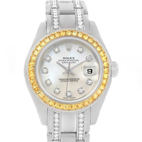 Photo of Rolex Pearlmaster Masterpiece White Gold Diamond Sapphire Watch 69309