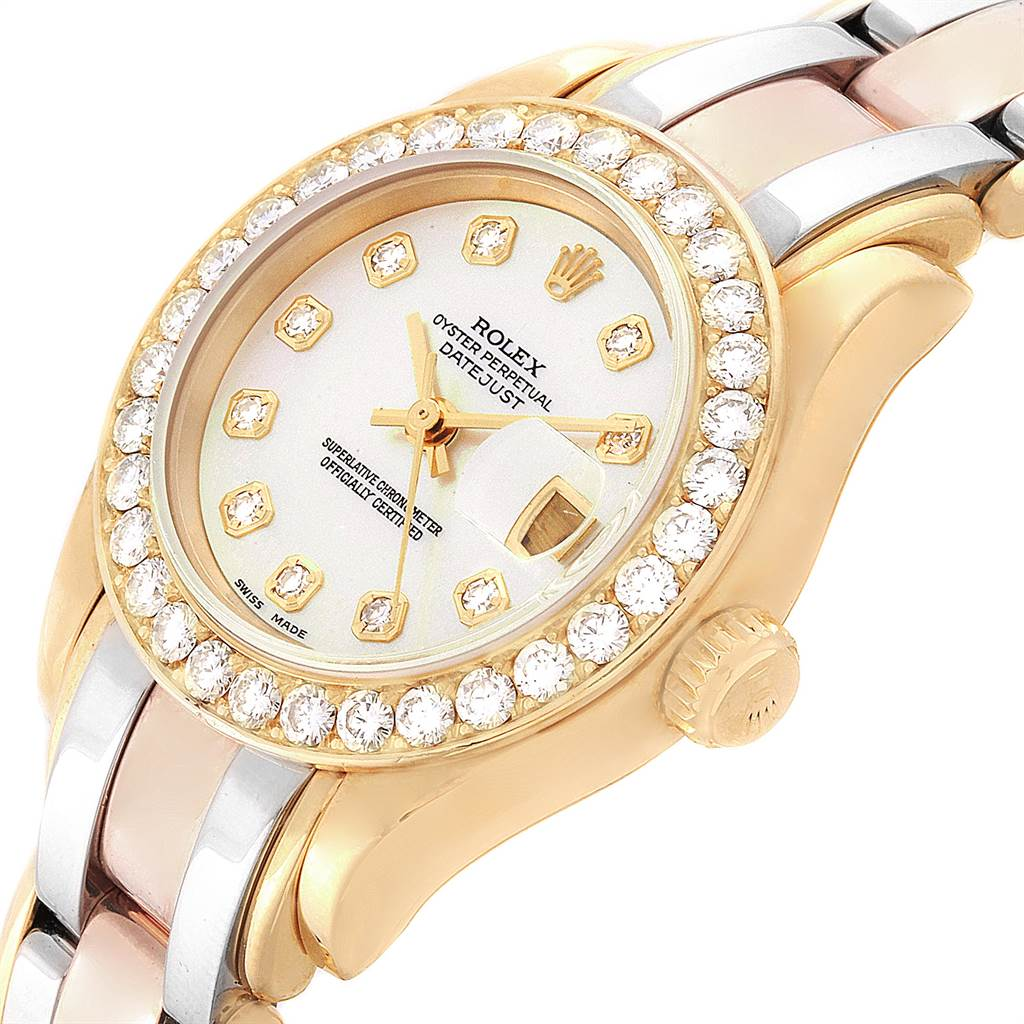 15096P Rolex Pearlmaster Yellow White Rose Gold Tridor Diamond Ladies Watch 69298 SwissWatchExpo