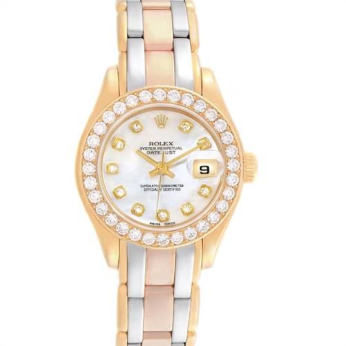Photo of Rolex Pearlmaster Yellow White Rose Gold Tridor Diamond Ladies Watch 69298