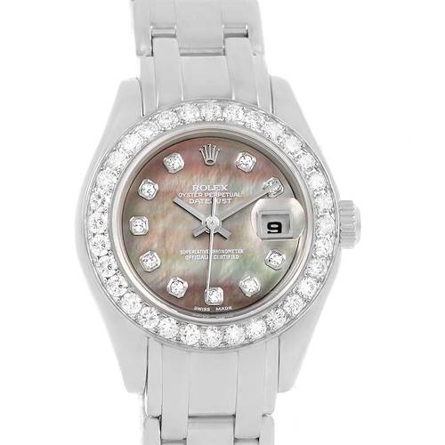 Photo of Rolex Pearlmaster 18K White Gold MOP Diamond Ladies Watch 80299 Box Papers