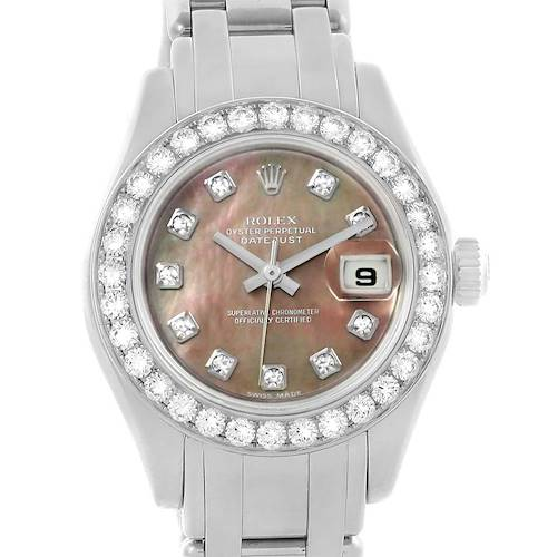 Photo of Rolex Pearlmaster Masterpiece White Gold Tahitian MOP Diamond Watch 80299