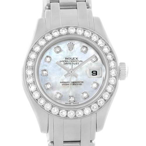 Photo of Rolex Pearlmaster White Gold MOP Diamond Ladies Watch 80299 Box Papers