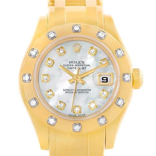 Photo of Rolex Pearlmaster 18K Yellow Gold MOP Diamond Ladies Watch 80318