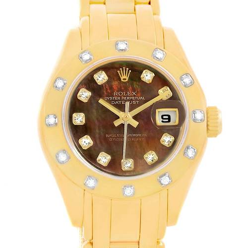 Photo of Rolex Pearlmaster Yellow Gold Black MOP Diamond Ladies Watch 69318
